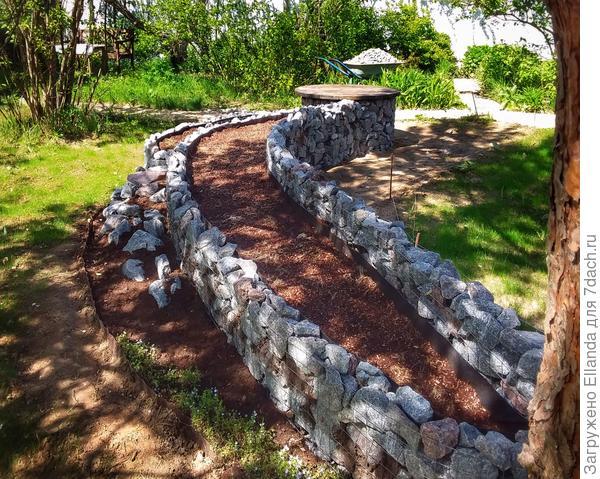 Габионная грядка-клумба с рокарием для украшения сада своими руками
