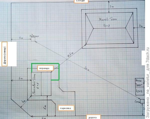 план участка с нанесенными отметками о постройках