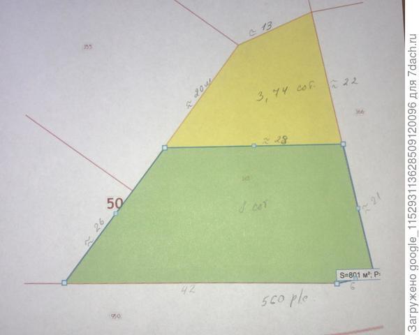 Участок, юг по длинной стороне 41м, север -26м длина
