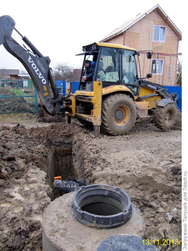 Трактор капает канаву для водопровода к нашим двум участкам.