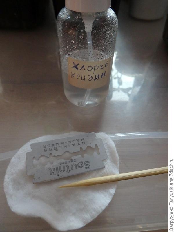 Бритву и палочку для прокола (это шпажка для шашлыка) каждый раз протирала хлордиксидином.