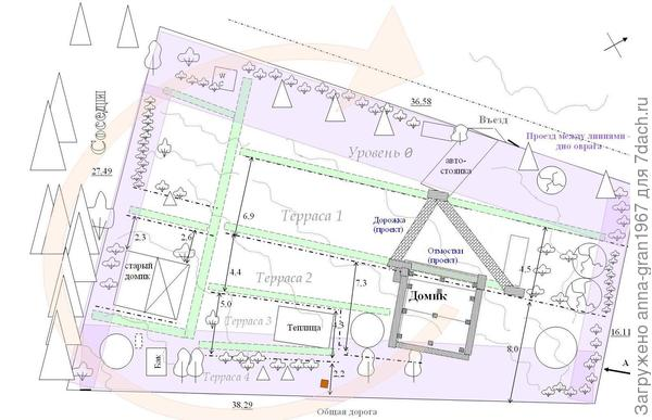 План участка. Розовым выделены зоны ограничения