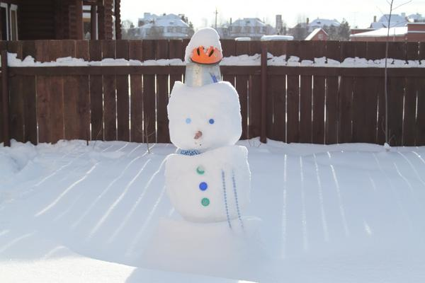 Вспомнил детство - слепил снеговика