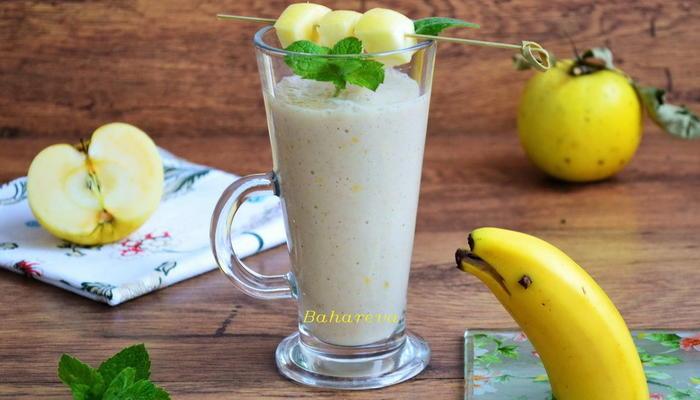 Бананово-яблочный смузи с овсяными хлопьями