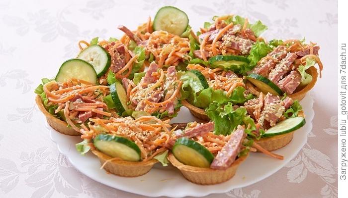 Порционная закуска к любому празднику - тарталетки с салатом