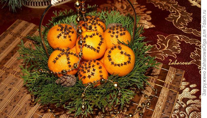 Новогодний декор из мандаринов к праздничному столу