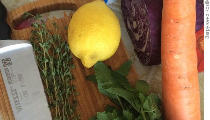 Шаурма со сливами и салат из краснокочанной капусты и мяты...