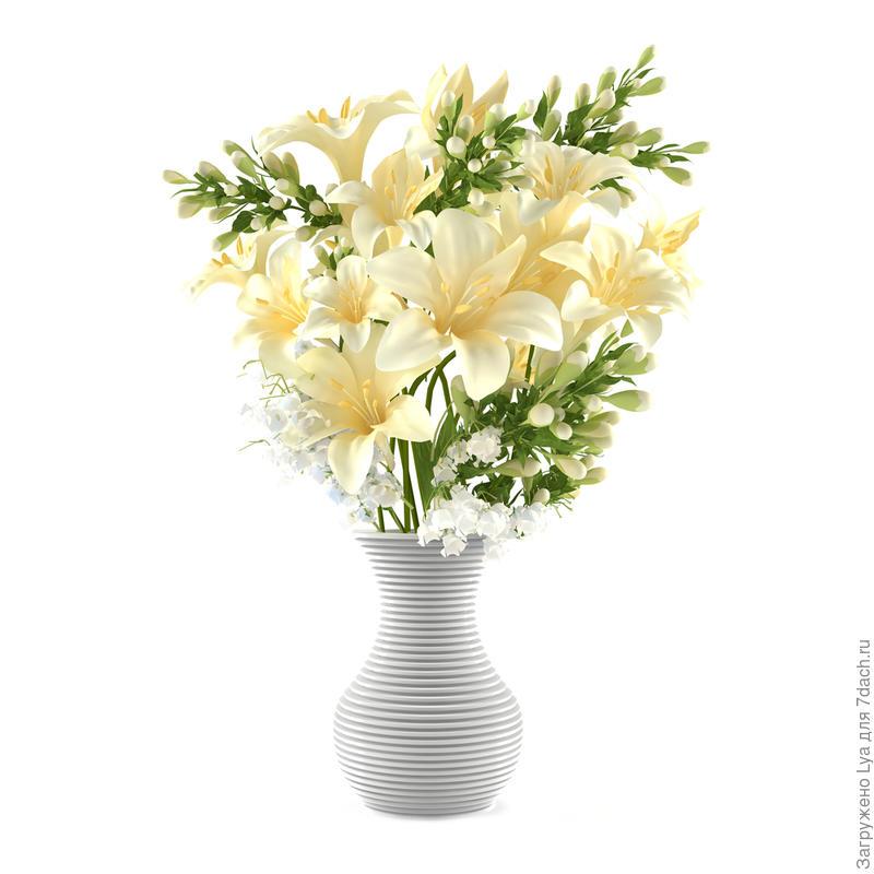 Букет из срезанных белых лилий