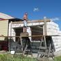Вот так все начиналось, ненаглядный мой супруг Василий Васильевич залил фундамент бетонный, дальше кладка стен из блоков «поревит»