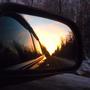 А закат провожаем в окне, т.е. в зеркале заднего вида)))