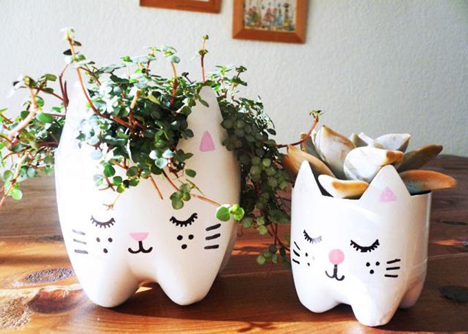 Горшки для цветов из бутылки фото