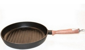 Сковорода с деревянной ручкой гриль 240х40