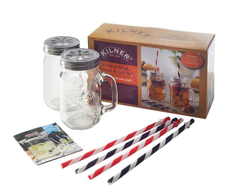 Подарочный набор из 2 банок с ручками и 4 трубочек